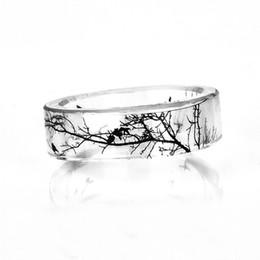 anello di barretta Sconti Anello di arte cinese pittura ad inchiostro anello trasparente fatti a mano alla moda anello donne moda 2017