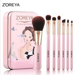 Wholesale Brush Zoreya - ZOREYA 7pcs Makeup Brush Set Beginner Makeup Tools Full Brush Eye Shadow Makeup Brushes Set Lip Brush