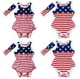 New Baby Pagliaccetti Bandiera Americana Estate Infantile Tute per capelli Fascia per capelli Due pezzi Indumento Stelle Stripes Beach Abiti LC888 da