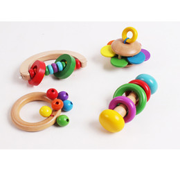 Wholesale Musical Instrument Toy Set - Wholesale- 4PCS set Wooden Bell Rattle Toy Baby Handbell Musical Educational Instrument Rattles