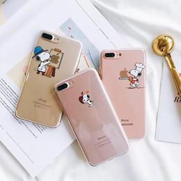 Couverture d'anime pour iphone en Ligne-Dessin animé mignon Snoopy Clear Soft TPU Housse Etui en silicone pour iPhone X 5s 6s 7 8 plus pour iphone XS XR Xs Max