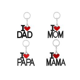 Canada J'aime papa maman maman papa porte-clés lettres coeur rouge amour porte-clés bagues bijoux de mode pour mère père cadeaux livraison gratuite Offre