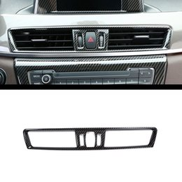 Wholesale Air Conditioning Vent Accessories - Carbon Fiber Style Chrome Console Air Condition Vent Cover Trim For BMW X1 f48 2016-2018 Car Accessory