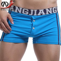 Wholesale Slim Waist Bag - 2017 Cuecas Mens Shorts Men's Underpants Home Furnishing Cotton Bag Built-in Low Waist Shorts Button Boxer For Men Sexy