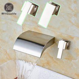 Wholesale Nickel Basin - Brushed Nickel One Handle Dual Hole Wall Mount Waterfall Basin Mixer Taps Widespread Bathroom Sink Faucet