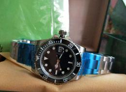 Wholesale Black Sapphire Bracelet - Top quality Luxury Watch+Gift box Black Ceramic Bezel Dial Stainless Steel Bracelet Automatic Mens Men's Watches Man Wristw