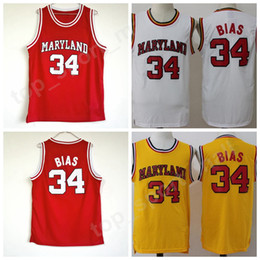 Wholesale college yellow - College 34 Len Bias Jersey Men Basketball University 1985 Maryland Terps Jerseys Team Red Yellow White Away Sport Breathable