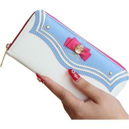 Wholesale Moon Wallet - Female Purses Women Leather Wallet Long Female Bag Purse Ladies Fashion Zipper Phone Sailor Moon Wallet Brand Kawaii Bow Pocket
