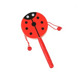 Wholesale bell shapes - Drum Shaped Rattle Early Education Child Wooden Cartoon Tradition Toys Woodiness Wave Drums Bell Baby Kid Music 2 07hh V