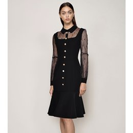 peter pan collar knee length dress Coupons - sheer lace patchwork sexy black dresses peter pan collar long sleeve ruffle hem mermaid party dress single-breasted button dress