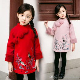 Wholesale embroidered cheongsam dress - Girls Dresses 2018 New Year Chinese Cheongsam Style Thick Warm New Year Baby Girls Long Sleeve Princess Dresses For 2-8 Years 2 Colors