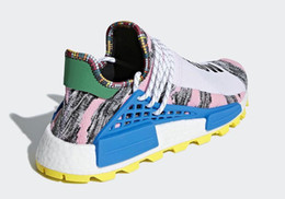 4fdb698c4 Newest Releases Pharrell NMD Hu Solar Pack Men Women Running Shoes Bright  Blue Outdoor M1L3L3 Sneakers Trainers Sports Shoes BB9531 Box