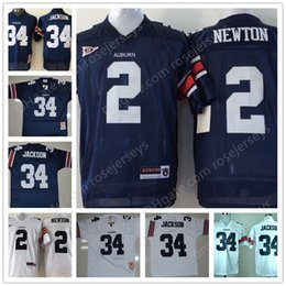 Wholesale Blue Cam - Mens Youth Auburn Tigers #2 Cam Newton 34 Bo Jackson Kids Navy Blue White with Orange Sleeve Throwback NCAA College Football Stitched Jersey