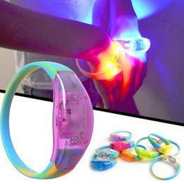 Wholesale Wholesale Emergency Supplies - in stock ship Sound Control LED Lighting Silicone Bracelet Wristband Vocal Concert Flashing Party Supplies