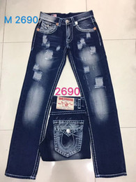Wholesale Printed Jeans - 2018 Free Shipping True High quality new Men's Robin Rock Revival Jeans Crystal Studs Denim Pants Designer Trousers Men's size 30-40