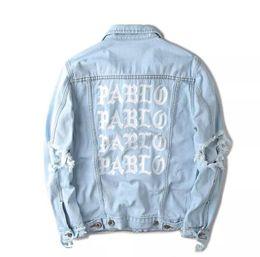 Wholesale Hot Ape - Hot sales KANYE west Jacket album PABLO denim jacket washing do old damaging yeezus Big broken suprme & apes men Jackets
