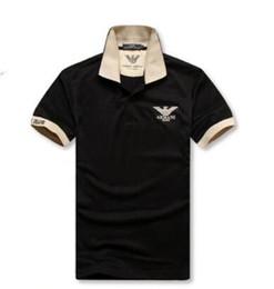 Medio cuello camisa online-Marca de diseñador italiano de algodón, manga corta, polo, camisa de manga corta, camiseta, hombre, manga media, para hombre, ropa de manga corta