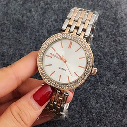 Wholesale geneva white rose gold watch - Luxury watches women silver diamond watches brands Ladies sale Geneva Cheap wholesale High quality rose metal stainless steel Quartz clock
