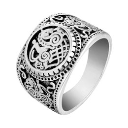 Wholesale Tibetan Wedding Ring - 5pcs lot Sleipnir Horse Viking Ring Tibetan Gothic Rock Punk Vintage God Signet Anel Bague Men Jewelry Free Shipping Drop Ship