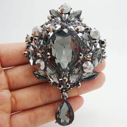 orecchini nero di lacrima Sconti orecchini di strass Vintage Style Teardrop Floral Spilla Pin Ciondolo nero strass cristallo asciutto baby shower favori