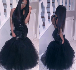 Wholesale Gold Party Dress Girls - 2018 Black Girl Mermaid African Prom Dresses Evening wear Plus Size Long Sequined Sexy Backless Sheath Gowns Cheap Party Homecoming Dress