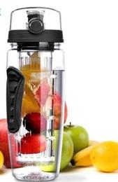 2020 botella de agua de fruta libre de bpa 32OZ fruta infuser juice shaker deportes limón botella de agua taza taza infusión desintoxicación BPA libre Tritan mango flip agua botellas creativas BBA4 botella de agua de fruta libre de bpa baratos