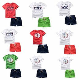 Wholesale eyeglass kids - 44 Styles boys Sets 100%Cotton short Sleeve cartoon bike eyeglass letter print T shirt boys causal summer t shirt + short kids Clothing Sets