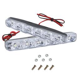 Wholesale Automobile Led Lamps - 2Pcs Universal 6 LEDs Car Daytime Running Lights DRL DC 12V 6000K LED Steering Lamp Automobile Light Source Car-styling Waterpro