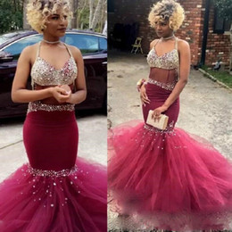 Mermaid Burgundy Prom Dresses Bling Bling Crystals Beads See Through Bodice Long Evening Gowns 2018 New Pageant Dress Coupons