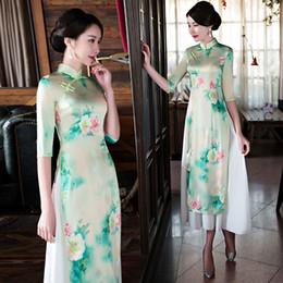 Vestidos de noche modernos de manga larga online-Nuevo verano de manga corta retro Qipao estilo chino Cheongsam vestidos largos Cheongsam moderno para mujeres vestido de noche del partido