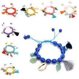 Wholesale Mala Turquoise - Reiki Natural 7 Chakra Turquoise Tassel Bracelet Charms Bracelets For Women Mala Yoga Beads Meditation Healing Jewelry D617S