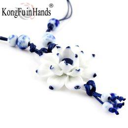 Wholesale White Ceramic Blue Flower - whole saleHandmake Vintage Lotus Flower Pendant Necklace Sweater Chain Blue and White Ceramic Accessory Chinese Style Souvenir Handicraft