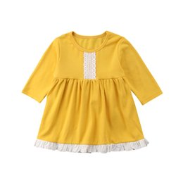 Deutschland Kleid der Kinder Kleinkind-Baby-Mädchen-Gelb-Rüsche-langes Hülsen-Kleid-Sommer-Ausstattungs-Kleidungs-Art- und Weisebabykleid 2018 supplier long tutu dresses for toddlers Versorgung