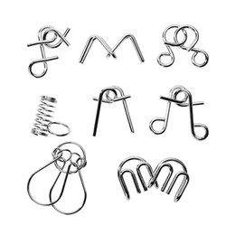 Wholesale Metal Wire Puzzles - 8pcs lot Montessori Materials Metal Wire Puzzle IQ Mind Brain Teaser Puzzles Game For Adults And Kids Eeducational Toy