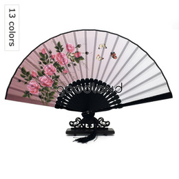 Wholesale Damask Print - Wholesale-Free Shipping 1pcs Silk Damask Bamboo Flower Printing 23cm*42cm Big High Quality Hand Fan Christmas Decor Christmas Gifts