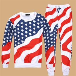 Wholesale American Flag Hoodies - 2018 new fashion designer mens tracksuit American Flag Print Sport Hip Hop luxury Sweatshirts+Jogger Pants Tracksuit Running Jogging Hoodie