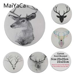 Wholesale elk painting - MaiYaCa 2018 New Elk deer Laptop Gaming Mice Mousepad DIY Painted Beautiful Mousepad