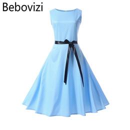 Bebovizi 2018 Summer Blue Wave Point Vestido de mujer Vintage Retro Hepburn 50's Big Hemlines Swing Party Rock vestidos para mujer desde fabricantes