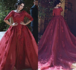 Wholesale Jacket Dresses High Necklines - Stylish Overskirts Evening Gowns with 1 2 Sleeves Scoop Neckline Formal Dresses Party Arabic Detachable Train Lace Prom Dress burgundy