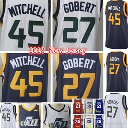 Wholesale m jazz - 2018 New Utah Jazz Jersey 45 DONOVAN MITCHELL 27 RUDY GOBERT 2 #3 Ricky Rubio Jersey Adult Embroidery Logos stitching Jerseys