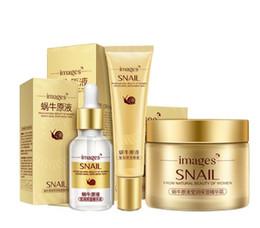 Wholesale Female Images - 3 pcs Images Snail Face Skin Care Set Day Cream  Essence  Eye Cream Anti Aging Repair Nursing Facial Snail Skin Set