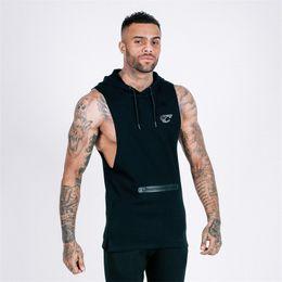 costume de super héros Promotion Gilet de sport pour homme Un gilet sans manches à capuchon et un partenaire de fitness