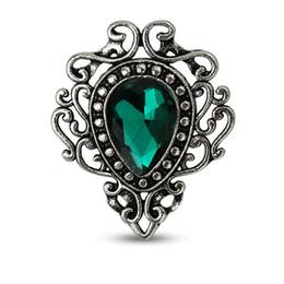 Broches estilo vintage on-line-Nova Estilo Vintage Jóias Gota De Água Flor Forma Broches Vermelho Verde Azul Pedra Broche para As Mulheres