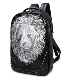 Wholesale Europe Laptops - new Europe Luxury brand Genuine Leather men's bag Backpack Style Sport Backpack fashion popular big lion Rivet Laptop bags