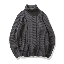 Wholesale Japanese Clothes Free Shipping - 2018 spring Japanese-style retro men's high-neck sweater winter Korean tide students loose line clothing thick Free shipping