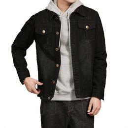 Outwear homem coreano on-line-Outono jaqueta jeans homem estilo coreano Jeans Vintage casacos preto grande tamanho masculino denim outwear