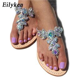 Wholesale Open Back Thong - 2018 Woman Sandals Women Shoes Rhinestones Crystal Chains Thong Gladiator Flat Sandals Chaussure Plus Size 35-47