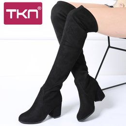 17f6a8ac0c6 Women Winter Over The Knee Boots High Faux Suede Slim Warm Plush Snow Boots  Ladies Thigh High Stocking Long Boots Shoes Woman