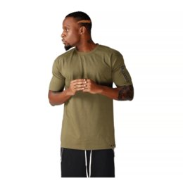 chemise à glissière coton Promotion Coton T Shirts Hommes New Summer Street Wear Hip Hop T Shirts Marque De Mode Zipper À Manches T-Shirts Pure Color