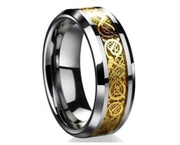 Wholesale Tungsten Celtic Couple Ring - wholesale-Couple rings 2018 New Fashion Free Shipping Dragon Tungsten Carbide Celtic Ring,Jewelry Wedding Band Gold New size7-13